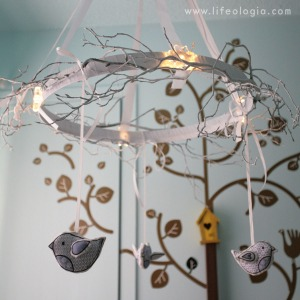 Happy Sew Lucky bird chandelier
