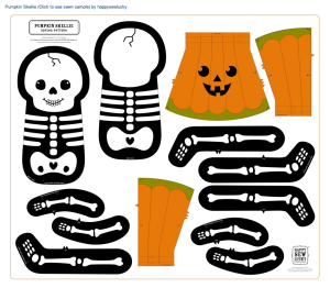 Jack o lantern skeleton fabric design