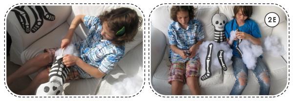 kids making plushies