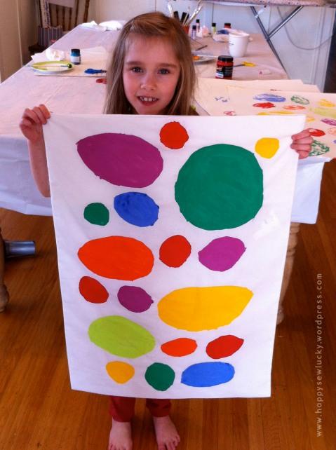 Rainbow dot fabric design