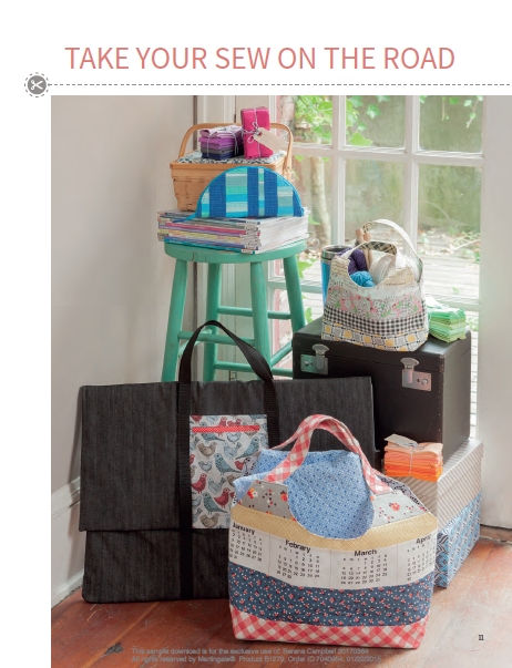 The first half of the book has projects to sew to organize and carry all your retreat gear.